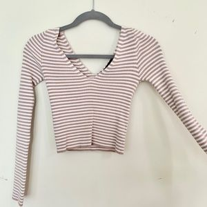 Long sleeve stripped cropped sweater